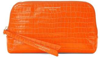 Aspinal of London Small Essential Cosmetic Case In Deep Shine Amber Small Croc