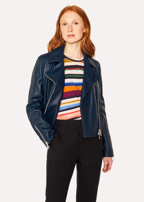 Paul Smith Women's Navy Leather Biker Jacket