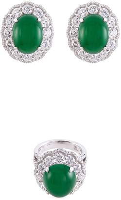 LC Collection Jade Diamond jade 18k gold ring and earrings set