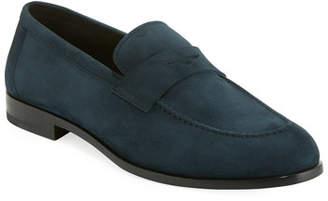Giorgio Armani Men's Calf Suede Penny Loafer Shoe