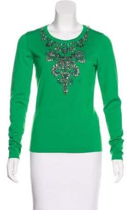 Oscar de la Renta Cashmere & Silk Embellished Sweater