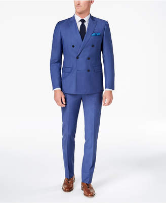 Tallia Orange Men's Modern-Fit Blue Twill Double-Breasted Suit