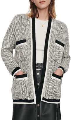 Maje Magda Textured Cotton-Blend Cardigan