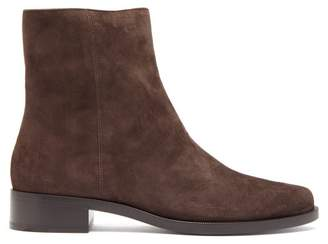 Legres - Almond Toe Suede Ankle Boots - Womens - Dark Brown