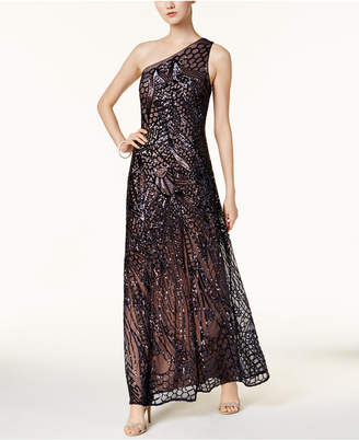 Night Way Nightway Sequined One-Shoulder Gown