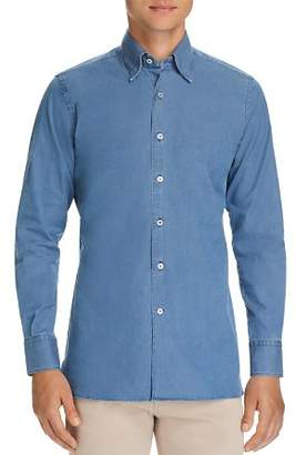 Canali Solid Chambray Regular Fit Sport Shirt