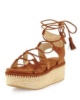 Stuart Weitzman Romanesque Lace-Up Platform Sandal, Saddle $598 thestylecure.com