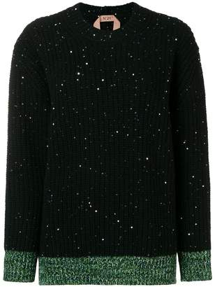 No.21 glitter detail ribbed sweater