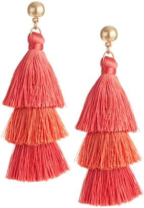 bc606e1168c2b0 Etereo 3-Tiers Tassel Linear Drop Earrings