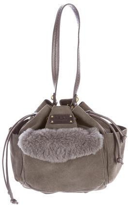 UGGUGG Australia Shearling-Trimmed Small Drawstring Bag