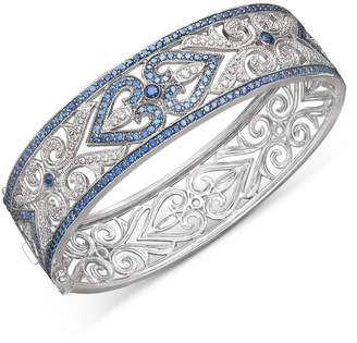 Macy's Sterling Silver Bracelet, Sapphire (3-3/4 ct. t.w.) and Diamond (1/4 ct. t.w.) Heart Bangle (Also Available in Emerald and Ruby)