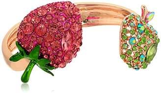 Betsey Johnson Strawberry and Apple Hinge Cuff Bracelet