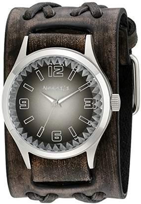 Nemesis Men's 217VDXB-K Black Gradient Pointium Series Faded Black Double X Leather Cuff Band Analog Display Japanese Quartz Black Watch