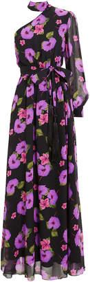 Borgo de Nor Isabeau One Shoulder Hibiscus Gown