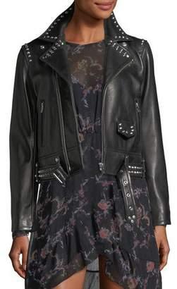 IRO Guara Zip-Front Studded Moto Jacket