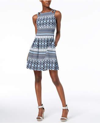 Vince Camuto Printed Fit & Flare Pocket Dress