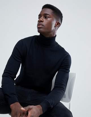 Esprit Turtleneck Sweater In 100% Cotton In Black
