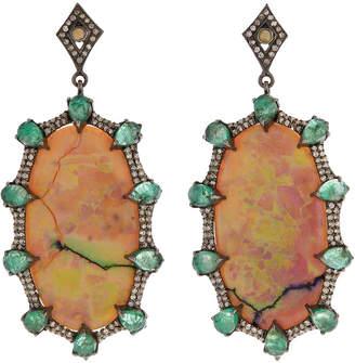 Bavna Black Silver Oval Drop Earrings with Compressed Opal, Emerald & Diamonds