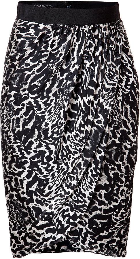 Giambattista Valli Silk Animal Print Draped Skirt