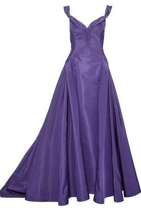 Zac Posen Off-The-Shoulder Silk-Taffeta Gown