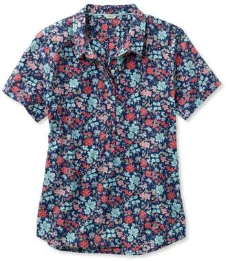 L.L. Bean L.L.Bean Textured Cotton Popover Shirt, Short-Sleeve Floral