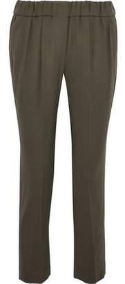Brunello Cucinelli Cropped Wool-Blend Twill Straight-Leg Pants