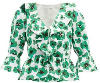 Borgo de Nor Poppy Floral Print Cotton Poplin Top - Womens - Green White