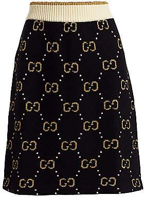Gucci Men's GG Jacquard Knit Wool A-Line Skirt
