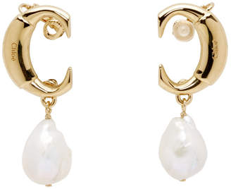 Chloé Gold C Pearl Earrings