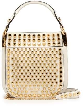 Prada Margit City Small Studded Leather Cross Body Bag - Womens - White