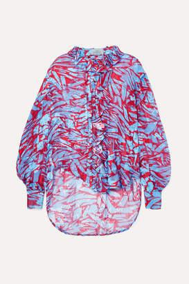 Preen by Thornton Bregazzi Lucie Ruffled Printed Devoré Silk-blend Satin Blouse - Red
