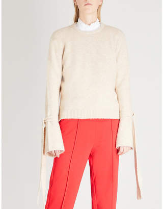 Mo&Co. Tie-sleeve knitted jumper