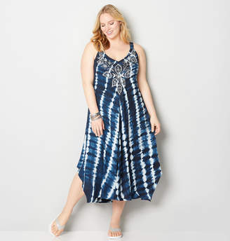 Avenue Embroidered Tie Dye A-Line Dress