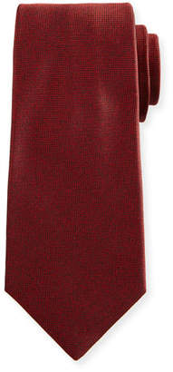 Kiton Textured Solid Silk Tie, Red
