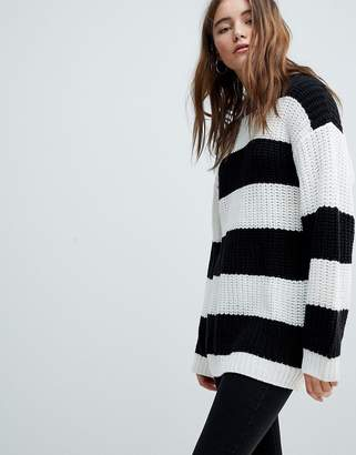 Bershka Stripe Longline Knitted Jumper