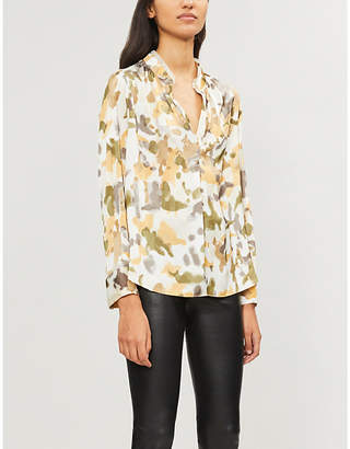 Zadig & Voltaire Lace-trimmed camouflage-print satin shirt