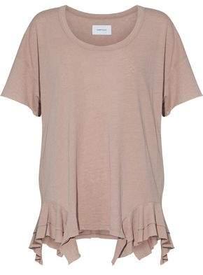 Current/Elliott The Tier Ruffle-Trimmed Slub Cotton-Blend Jersey T-Shirt