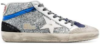 Golden Goose metallic Mid Star glitter embellished hi-top leather sneakers