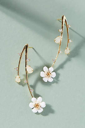 Anthropologie Cascading Flowers Drop Earrings