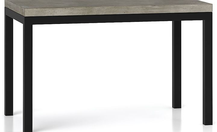 Crate & Barrel Parsons Concrete Top/ Dark Steel Base 60x36 Dining Table