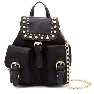 OMG! Accessories Faux Pearl Studded Nylon Micro Mini Backpack (Little Girls & Big Girls)