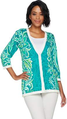 Bob Mackie Bob Mackie's Floral Printed Button Front 3/4 Sleeve Knit Cardigan