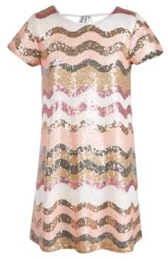 Sequin Hearts Big Girls Chevron Sequin Shift Dress