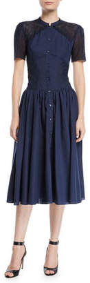 Zac Posen No Collar Eyelet Detail Short-Sleeve Shirtdress