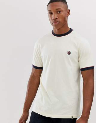 Pretty Green contrast piped t-shirt in off white