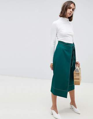Asos (エイソス) - ASOS DESIGN Tailored Midi Wrap Skirt with Topstitch