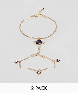 Asos DESIGN pack of 2 bracelets with star and planet design in gold