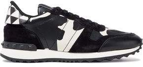 Valentino Rockstud Suede Canvas And Printed Leather Sneakers