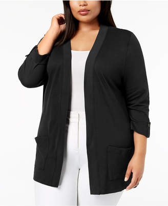 Karen Scott Plus Size Cotton Tab-Sleeve Cardigan, Created for Macy's