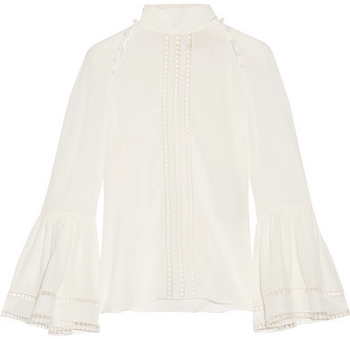 Fendi - Crochet-trimmed Silk Crepe De Chine Blouse - White